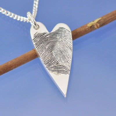 Fingerprint Asymmetric Heart Pendant