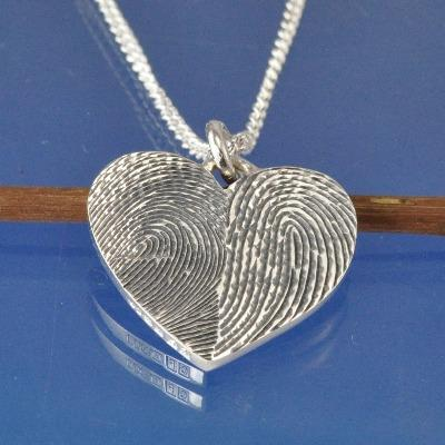 double fingerprint necklace pendant