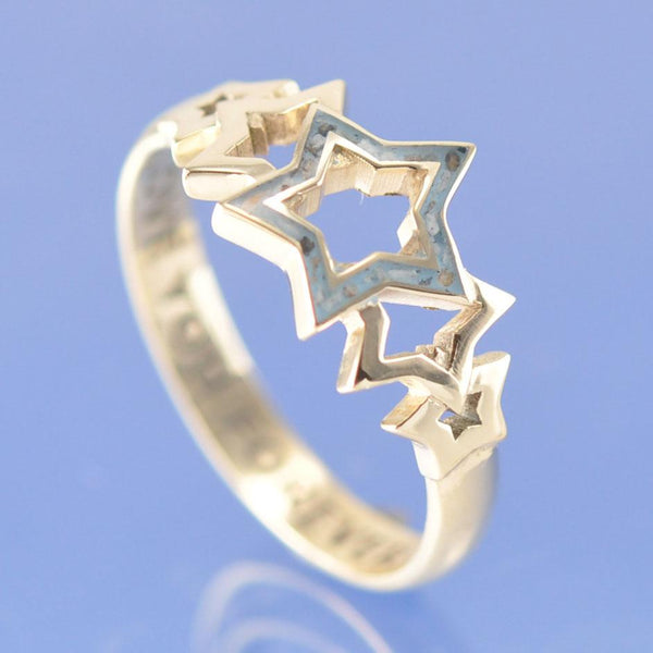 Cremation Ash Resin Entwined Stars Ring