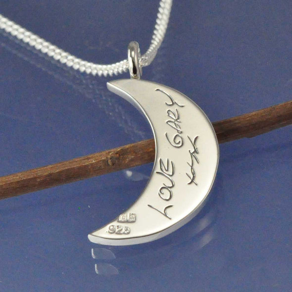 Fingerprint Crescent Moon Pendant