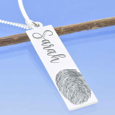 fingerprint necklace drop handmade in the UK