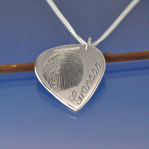 fingerprint guitar plectrum necklace