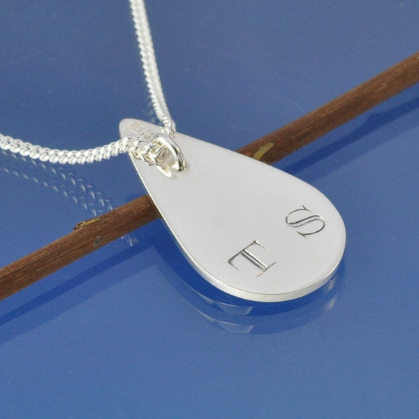 Double Fingerprint Necklace Tear Drop