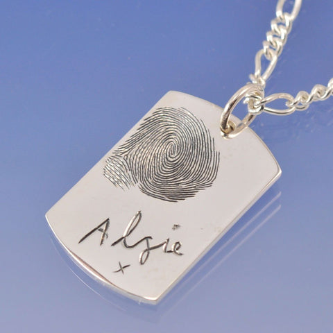 Fingerprint Dog Tag Necklace Pendant Chris-Parry-Handmade