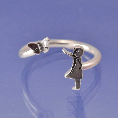 Banksy Butterfly Girl Ring