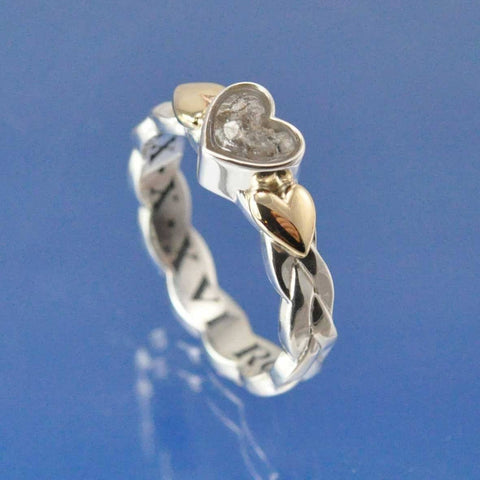 Cremation Ash Glass Ring With Plaited Ring Shank.