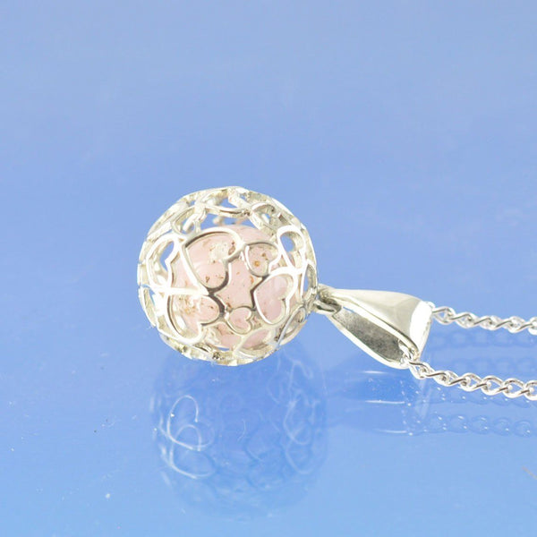 Heart Sphere Cremation Ash Marble Necklace