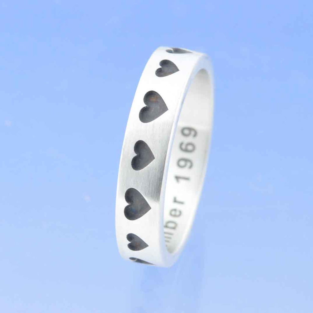 Hearts Big & Small  4mm Personalised Flat Ring