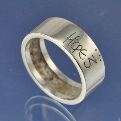 Cremation Ash Ring. Hidden Flat shank