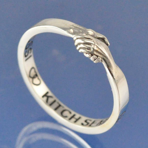 Holding Hands Ring with Cremation Ashes