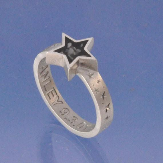 Cremation Ash Star Resin Ring