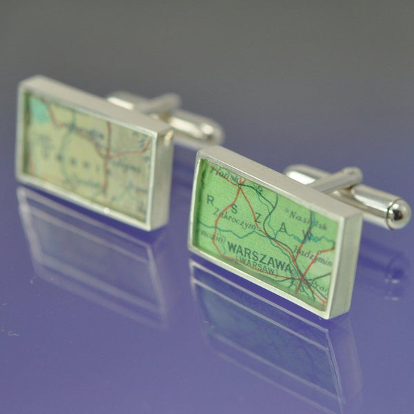 Personalised Vintage Map Cufflinks - Rectangular