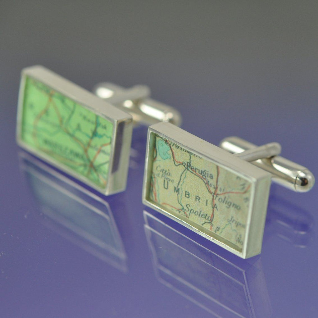 Personalised Vintage Map Cufflinks - Rectangular Cufflinks Chris-Parry-Handmade