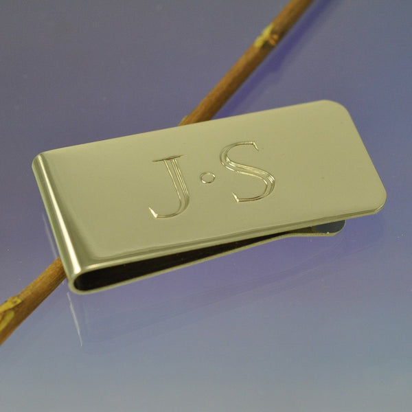 Steel Hand Engraved Initial Money Clip