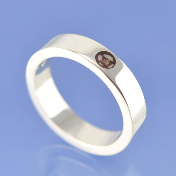 Cremation Ash Ring. 5mm Full Moon