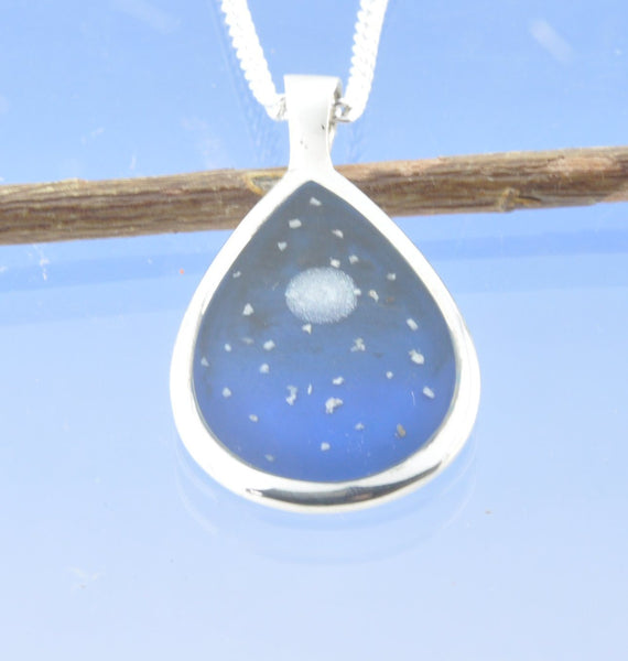 Cremation Ash Moon Star Night Sky Tear Drop Pendant