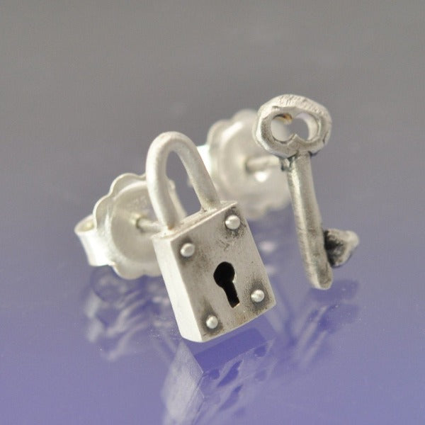 Padlock and Key Stud Earrings
