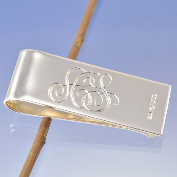 Hand Engraved Initial Money Clip