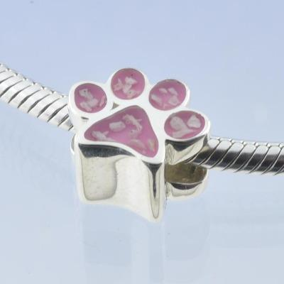 pet ashes charm bead paw print