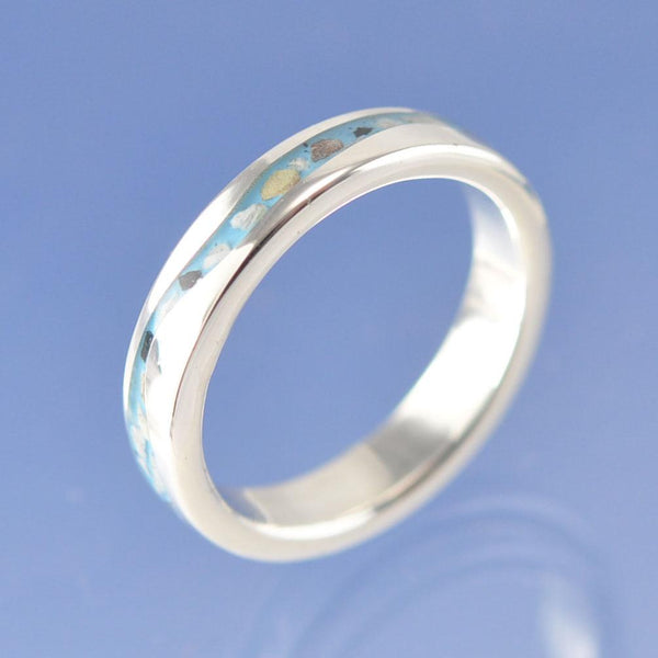 Cremation Ash Wandering River Ring 4mm