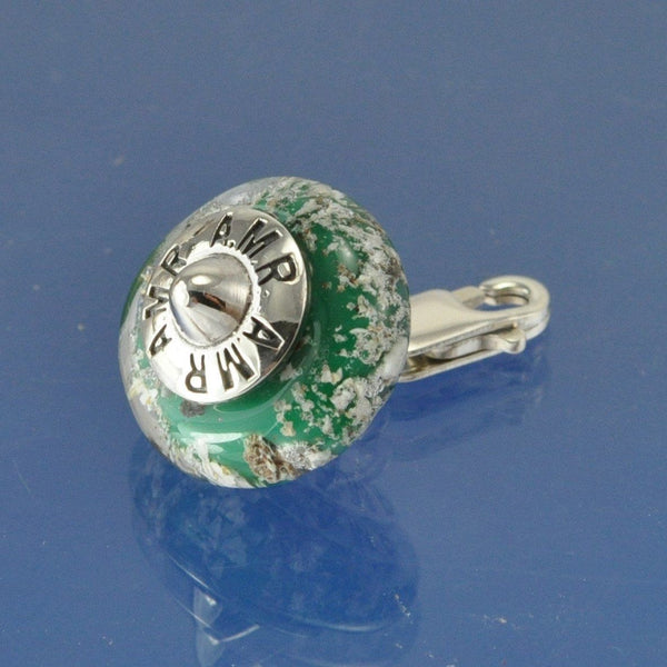 Cremation Ash Glass Bead WITH CLIP