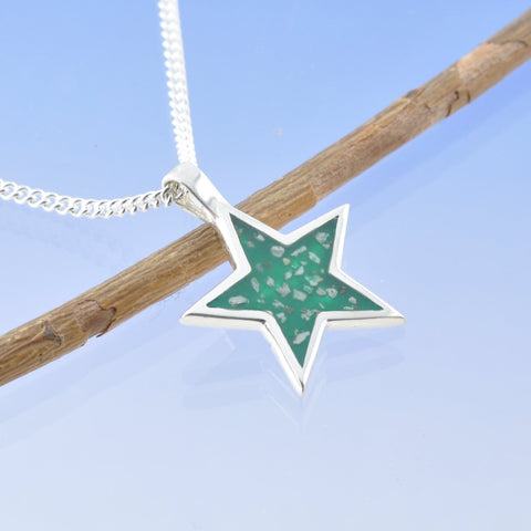 Solid Star Cremation Ash Pendant 20mm
