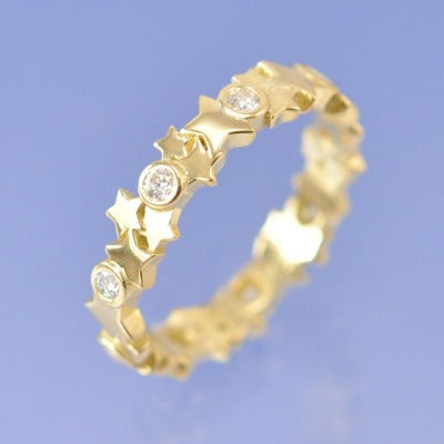 Cremation Ash Diamond Star Ring. 0.27ct
