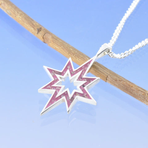 Halo Star Burst Cremation Ash Pendant