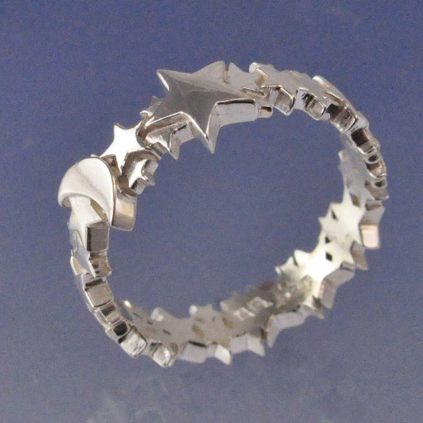 Cremation Ash Star and Moon Ring