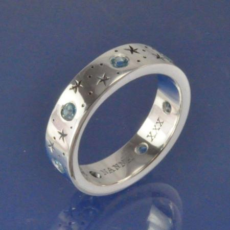 Cremation Ash Topaz Star Ring