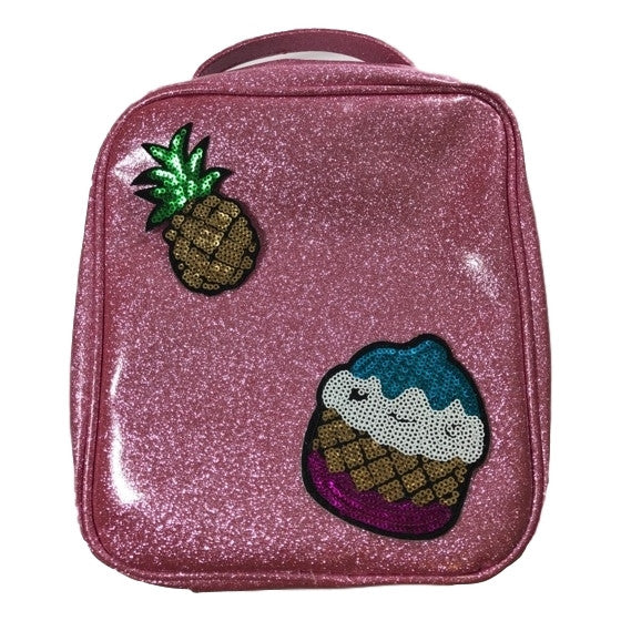 Bari Lynn Lunchbag In Pink Glitter With Emoji Decals - Frolicstyle