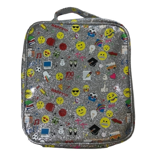Bari Lynn Lunchbag In Silver Glitter With Emojis - Frolicstyle