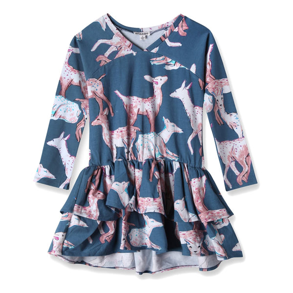 Art&Eden Girls Long Sleeve Organic Cotton Blue Dress - Julia - Frolicstyle