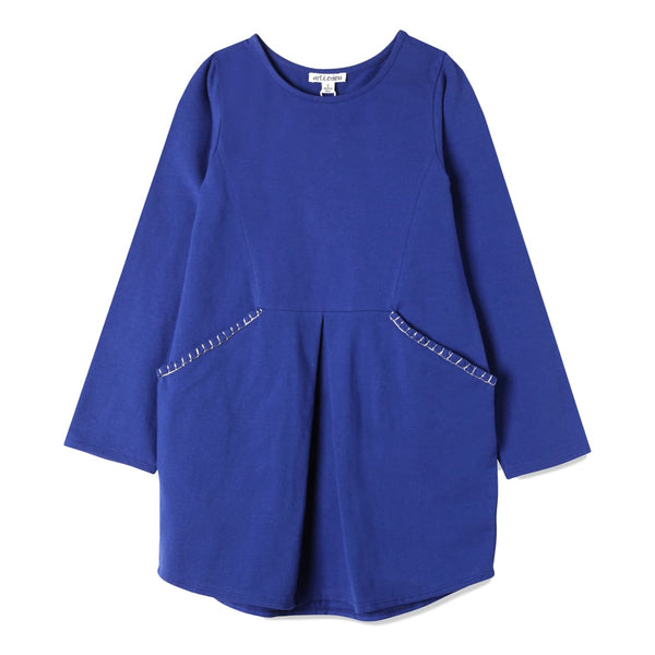 Art&Eden Girls Long Sleeve Organic Cotton Blue Dress - Kennedy - Frolicstyle