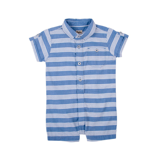 Hatley Blue Striped Short Sleeve Romper - Frolicstyle