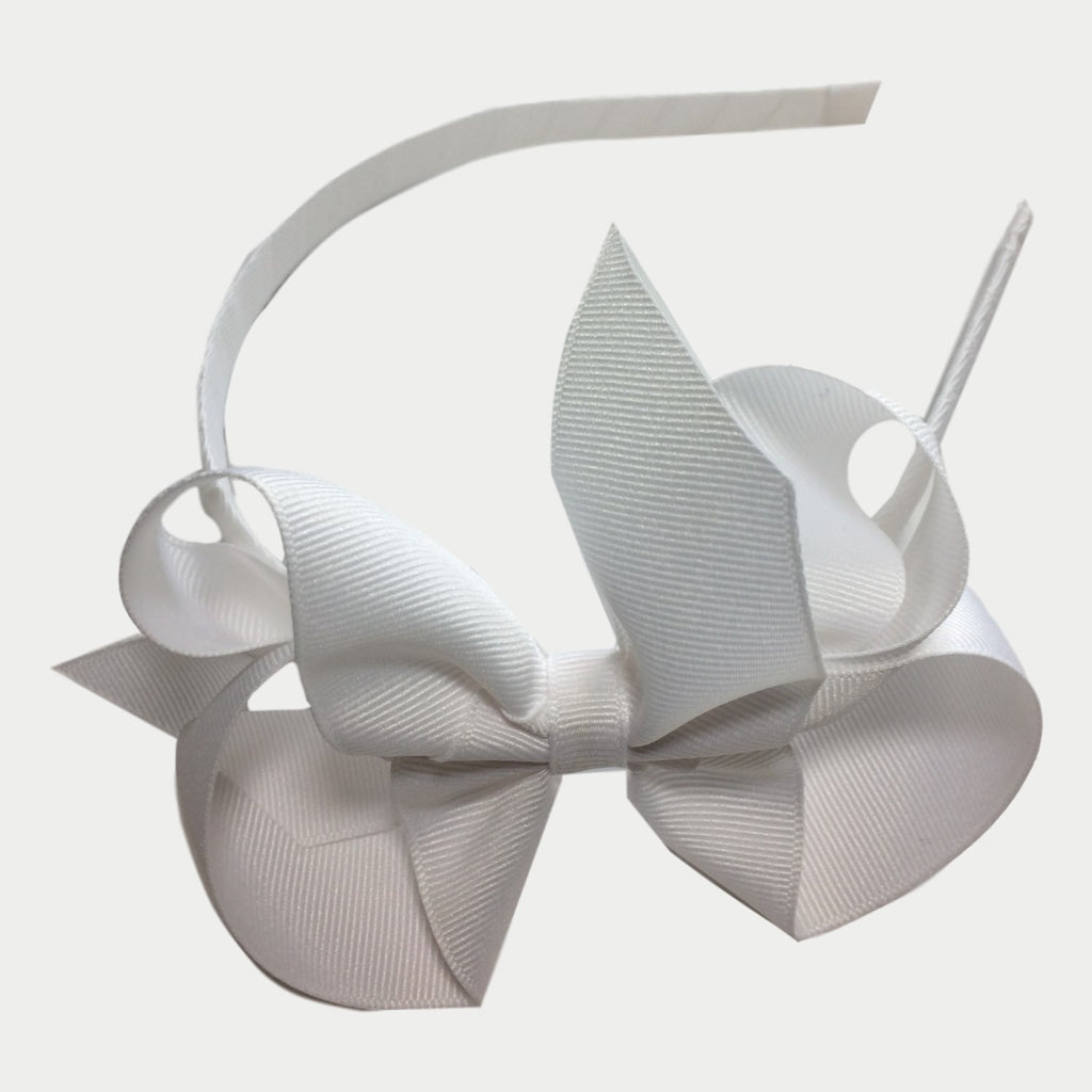 "Bows ArtsClassic 5"" White Bow on Headband - Frolicstyle"