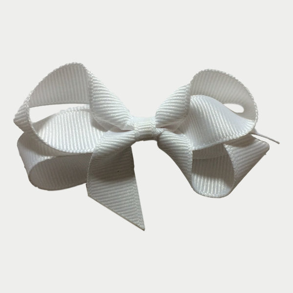 "Bows Arts 3"" White Grosgrain Hair Bow Front"