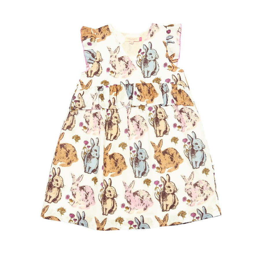 Pink Chicken Bree Sleeveless Bunny Rabbit Design White Dress - Frolicstyle