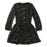 Imoga Rosemary Black and Gold Star Long Sleeve Girls Dress - Frolicstyle