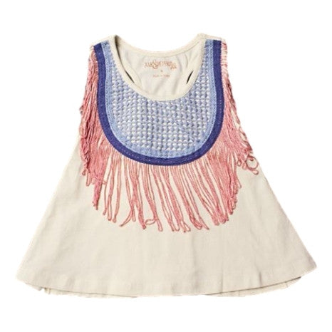 Jak and Peppar Fringe Down Sleeveless Crop - Frolicstyle