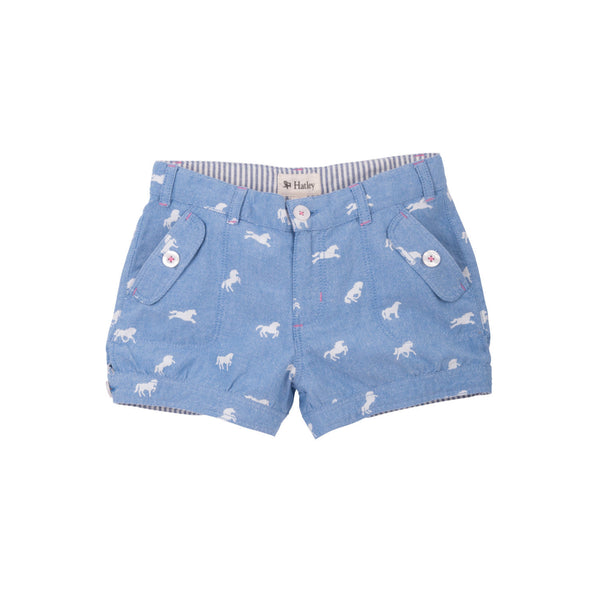 Hatley Horse Pattern Chambray Shorts - Frolicstyle