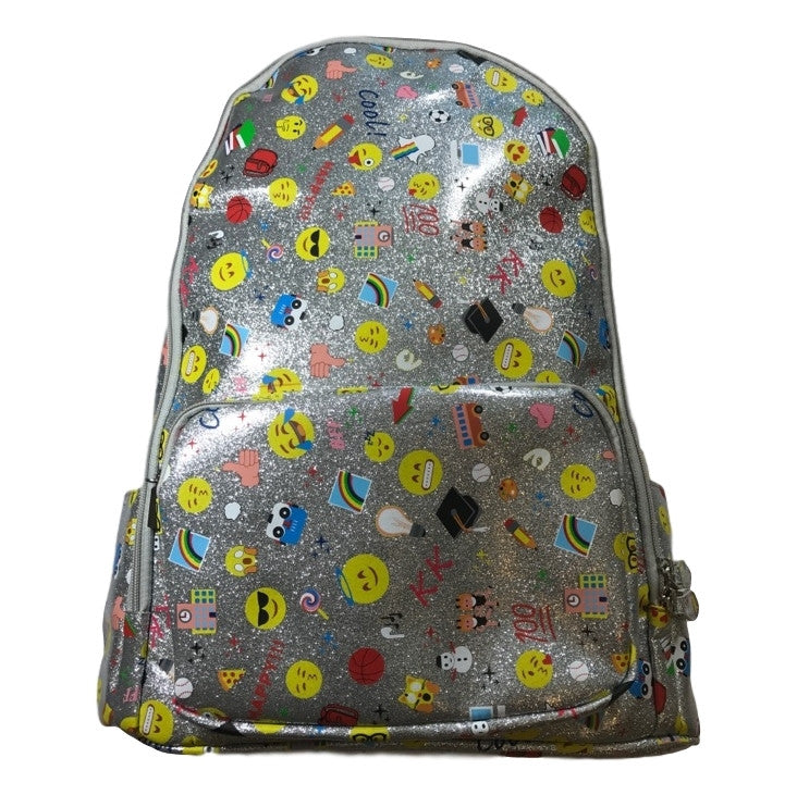 Bari Lynn 17 Inch Backpack In Silver Glitter With Emojis - Frolicstyle