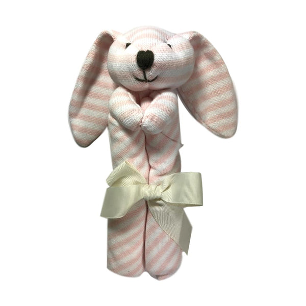 Elegant Baby Pink Striped Bunny Blankie - Frolicstyle