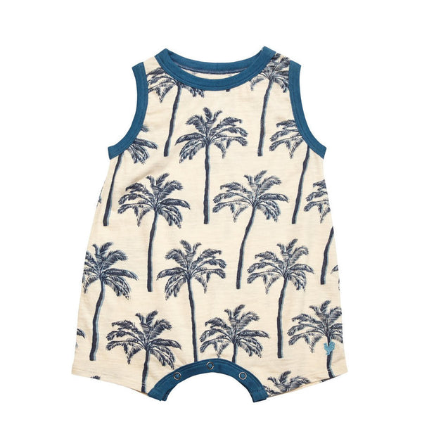 fb5a7ccae47d Pink Chicken Eli Sleeveless Palm Tree Graphic Onesie - Frolicstyle