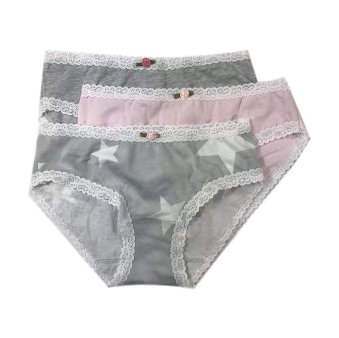 Esme Girls 3 Pack Grey Star Underwear - Frolicstyle