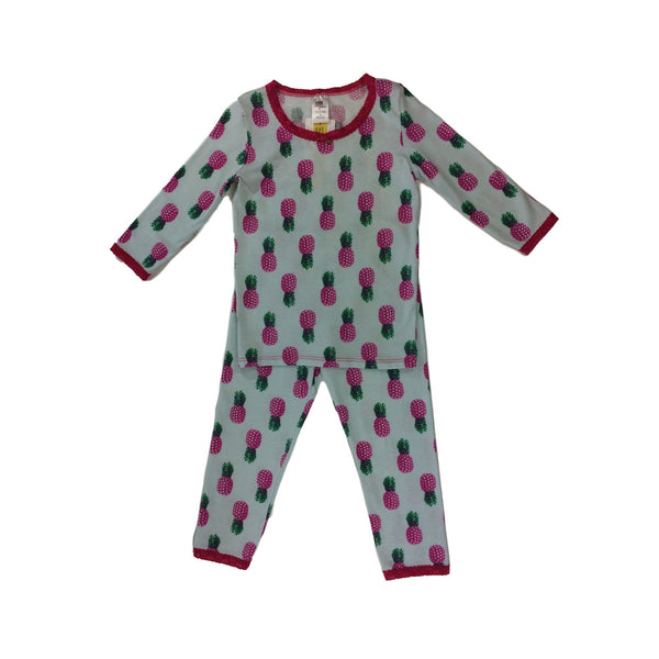 Esme Girls Pajamas 3/4 Sleeve Pineapple Fuchsia Lace - Frolicstyle