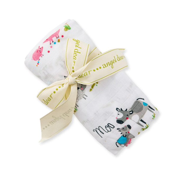 Angel Dear Farm Yard Bamboo Swaddle Blanket - Frolicstyle
