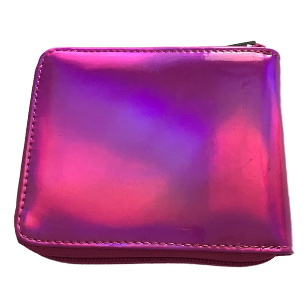 Bari Lynn 5 Inch Fuchsia Hologram Finish Zip Close Wallet - Frolicstyle