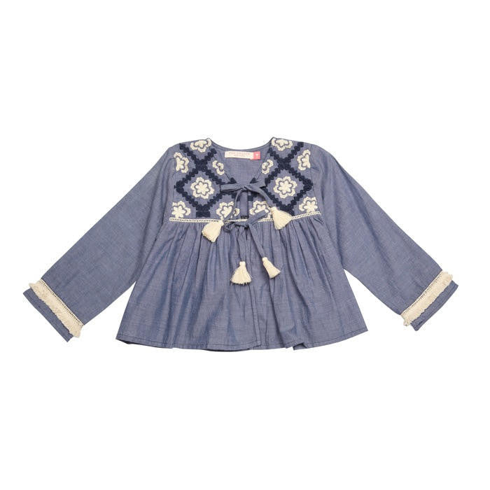 Pink Chicken Gemma Lightweight Chambray Jacket - Frolicstyle