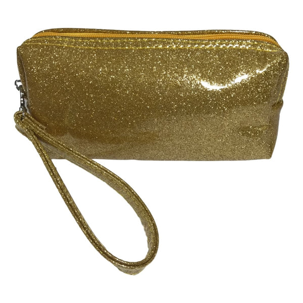 Bari Lynn 8 Inch Hologram Gold Glitter Finish Pencil Bag - Frolicstyle